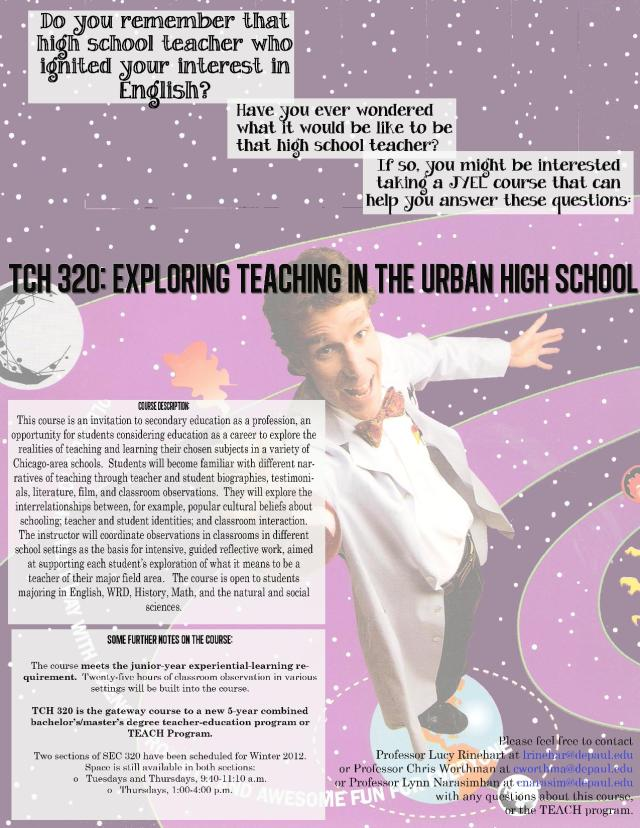 Poster for course TCH 320: Teaching in the Urban High School depaulunderground.wordpress.com