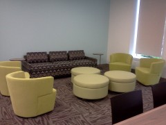 couches in new Arts and Letters Building, DePaul University, depaulunderground.wordpress.com