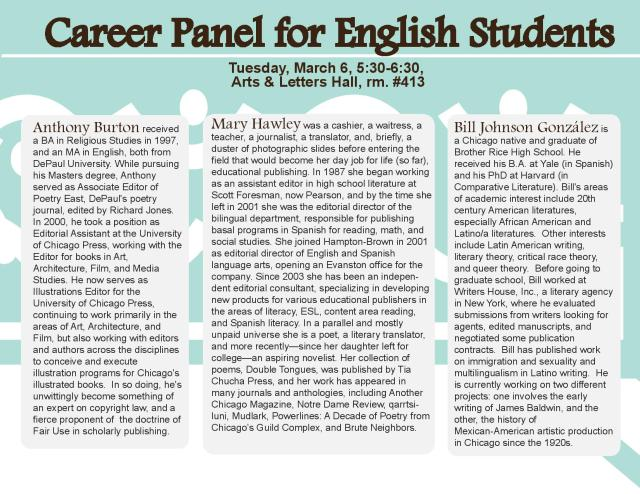 Career panel flyer, depaulunderground.wordpress.com