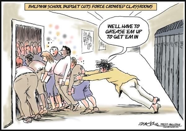 crowded classroom cartoon, depaulunderground.wordpress.com