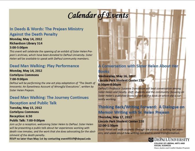 Sister Helen Prejean Event Flyer, depaulundergroud.wordpress.com
