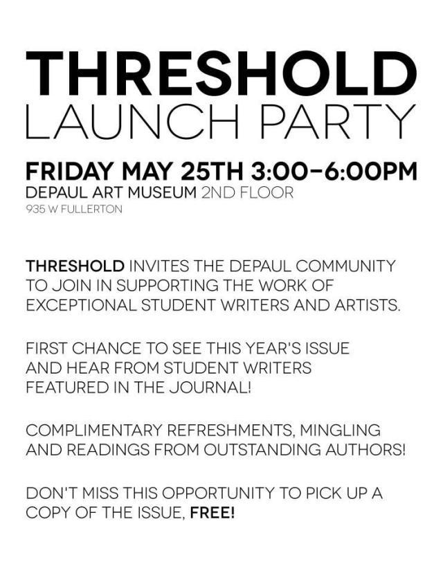 threshold launch party flyer, depaulunderground.wordpress.com