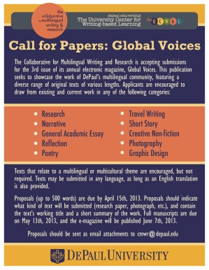 Call for Papers: Global Voices -- April 15th