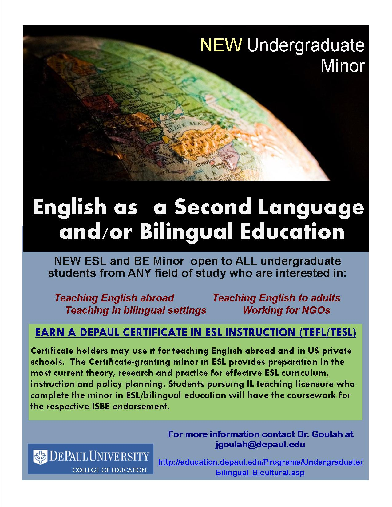 New undergraduate eslbilingual education minor offered the flyer bbe minor 1betcityfo Gallery
