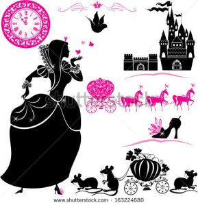 stock-vector-fairytale-set-silhouettes-of-cinderella-pumpkin-carriage-with-mouses-castle-and-clock-163224680