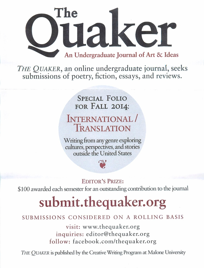 The Quaker flyer