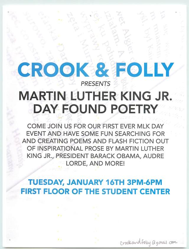 Crook & Folly MLK Found Poetry