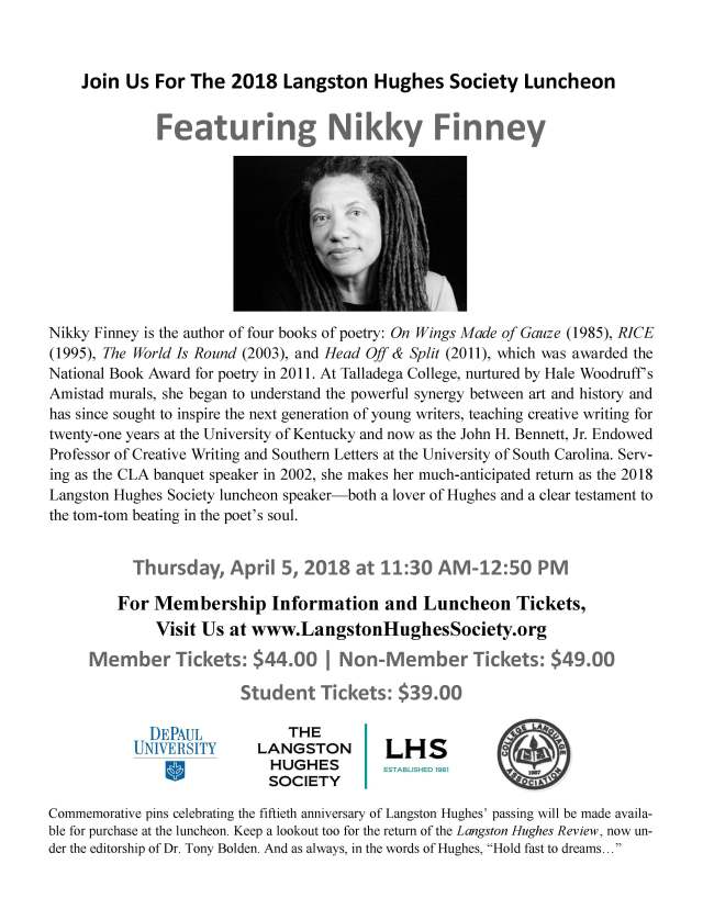 2018 Langston Hughes Society Luncheon Announcement