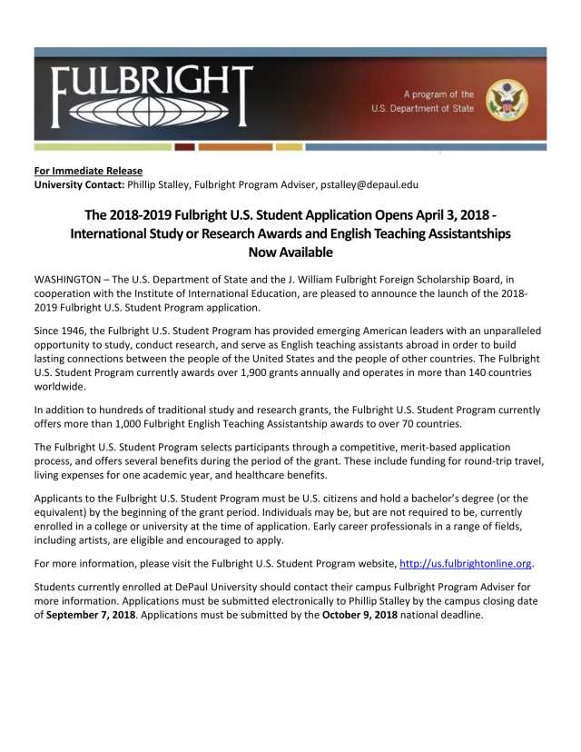 Fulbright announcement, 2018